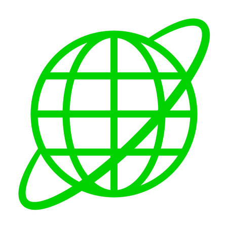 Globe symbol icon with orbit - green simple, isolated - vector illustration