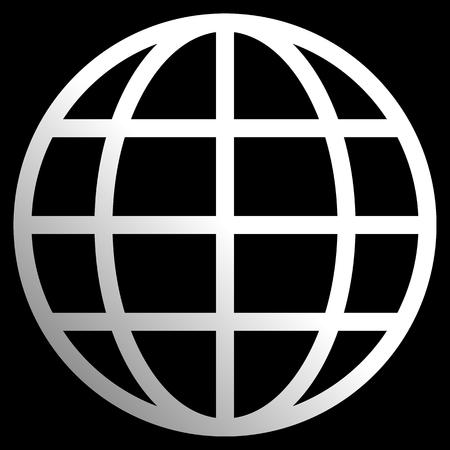 Globe symbol icon - white gradient, isolated - vector illustration Illustration