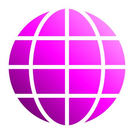 Globe symbol icon - purple gradient, isolated - vector illustration