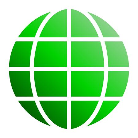 Globe symbol icon - green gradient, isolated - vector illustration Illustration