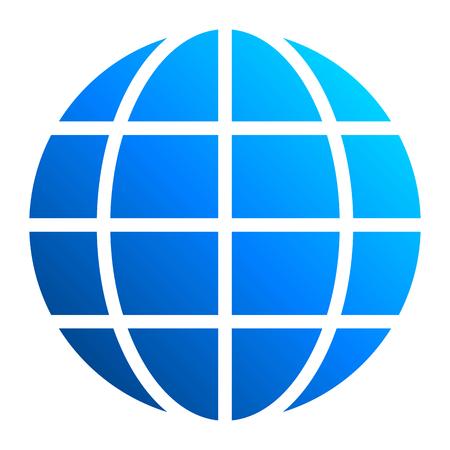 Globe symbol icon - blue gradient, isolated - vector illustration