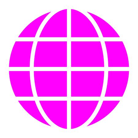Globe symbol icon - purple simple, isolated - vector illustration Stock Illustratie