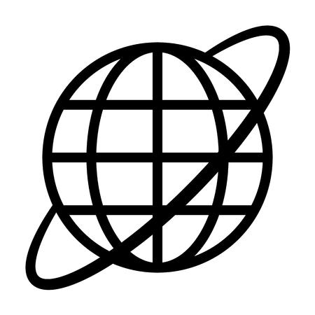 Globe symbol icon with orbit - black simple, isolated - vector illustration