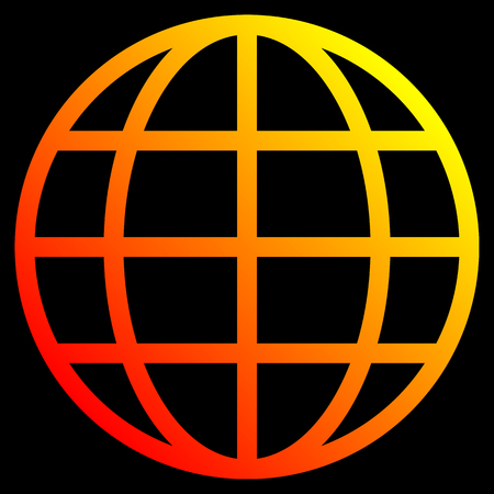 Globe symbol icon - yellow orange red gradient, isolated - vector illustration Stock Illustratie