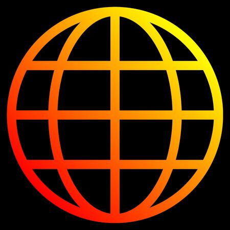 Globe symbol icon - yellow orange red gradient, isolated - vector illustration Illustration