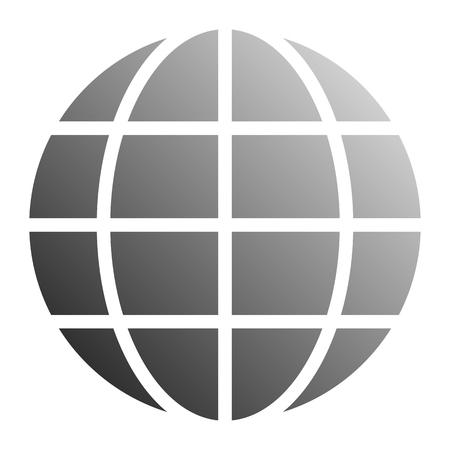 Globe symbol icon - gray gradient, isolated - vector illustration Illustration