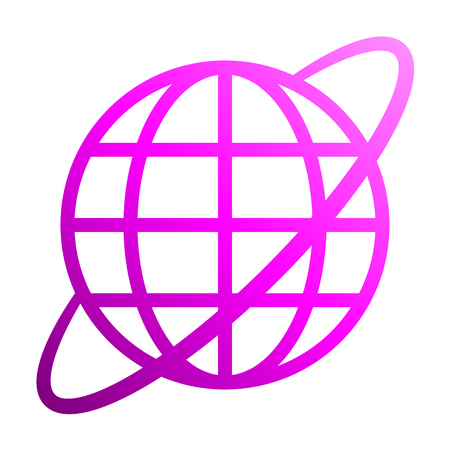 Globe symbol icon with orbit - purple gradient, isolated - vector illustration Stock Illustratie