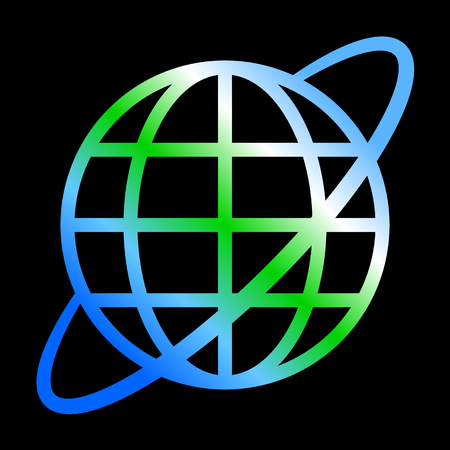 Globe symbol icon with orbit - Earth gradient, isolated - vector illustration