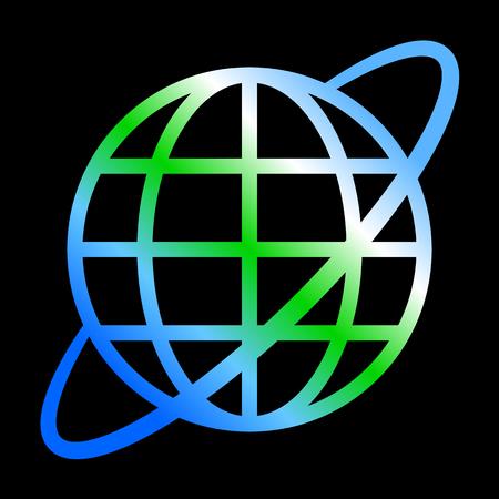 Globe symbol icon with orbit - Earth gradient, isolated - vector illustration