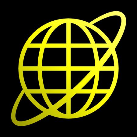 Globe symbol icon with orbit - yellow gradient, isolated - vector illustration