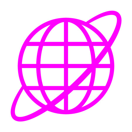 Globe symbol icon with orbit - purple simple, isolated - vector illustration