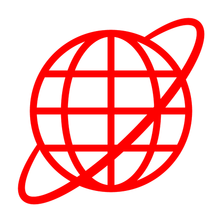 Globe symbol icon with orbit - red simple, isolated - vector illustration