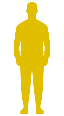 Man standing silhouette - golden simple, isolated - vector illustration