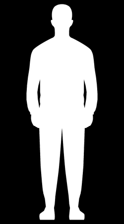Man standing silhouette - white simple, isolated - vector illustration
