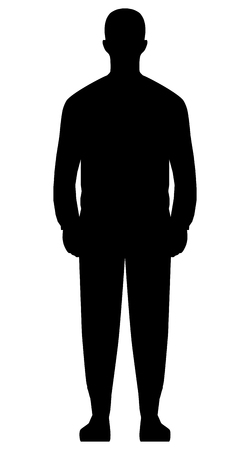 Man standing silhouette - black simple, isolated - vector illustration Stock Illustratie