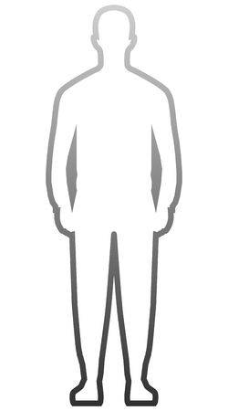 Man standing silhouette - gray gradient outline, isolated - vector illustration