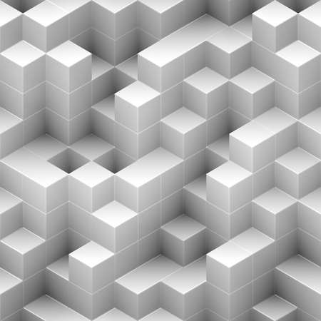 Cubes seamless background - white, randomly stacked structure - 3d rendering