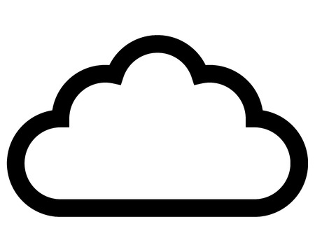 Cloud symbol icon - black simple outline, isolated - vector illustration