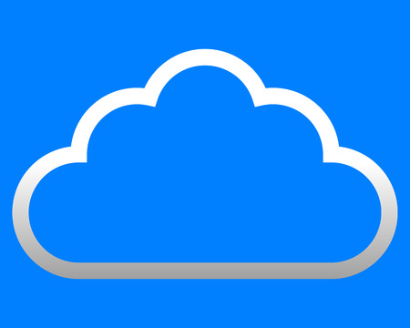 Cloud symbol icon - white gradient outline, isolated - vector illustration