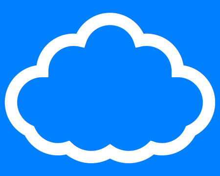 Cloud symbol icon - white simple outline, isolated - vector illustration