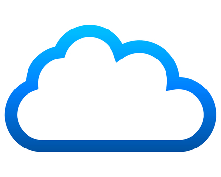 Cloud symbol icon - blue gradient outline, isolated - vector illustration Çizim