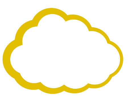 Cloud symbol icon - golden simple outline, isolated - vector illustration Illustration