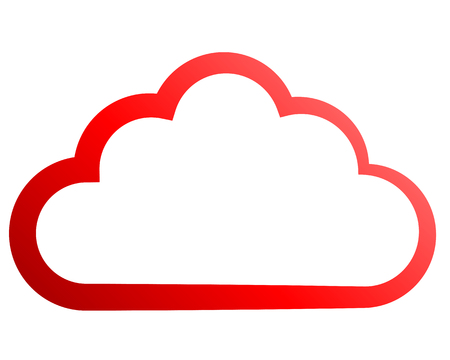 Cloud symbol icon - red gradient outline, isolated - vector illustration