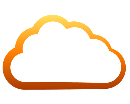 Cloud symbol icon - orange gradient outline, isolated - vector illustration