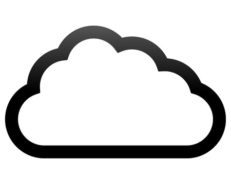 Cloud symbol icon - black gradient outline, isolated - vector illustration