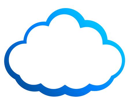 Icono de símbolo de nube - contorno degradado azul, aislado - ilustración vectorial