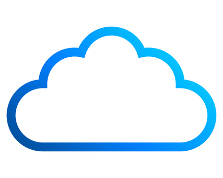 Cloud symbol icon - blue gradient outline, isolated - vector illustration Ilustração