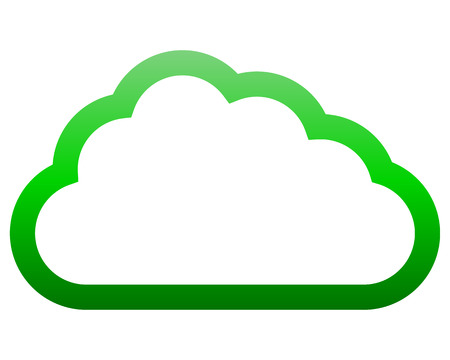 Cloud symbol icon - green gradient outline, isolated - vector illustration
