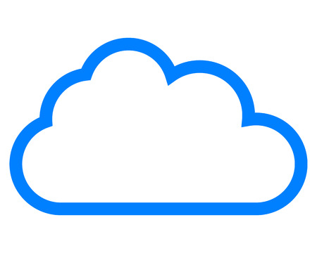Icône de symbole de nuage - contour simple bleu, isolé - illustration vectorielle