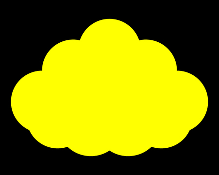 Cloud symbol icon - yellow simple, isolated - vector illustration
