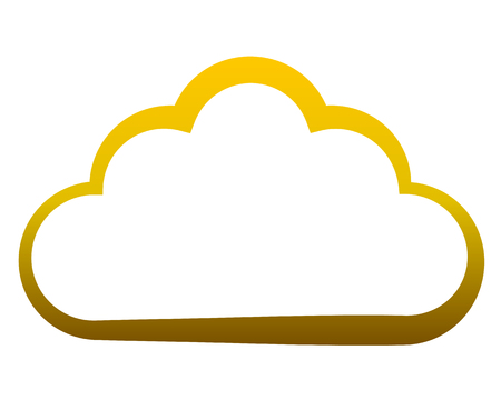 Cloud symbol icon - golden gradient outline, isolated - vector illustration