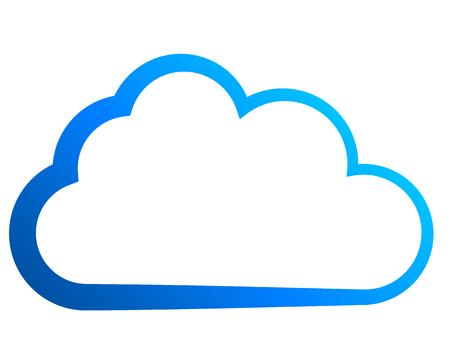 Cloud symbol icon - blue gradient outline, isolated - vector illustration Ilustração Vetorial