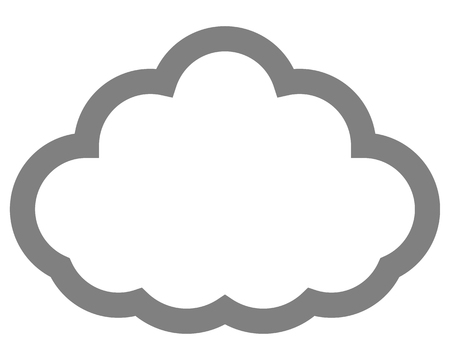 Cloud symbol icon - gray simple outline, isolated - vector illustration
