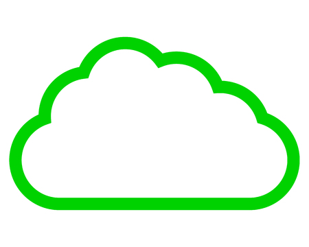Cloud symbol icon - green simple outline, isolated - vector illustration 向量圖像