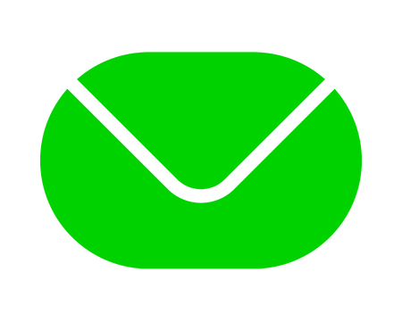 Mail symbol icon - green simple rounded, isolated - vector illustration