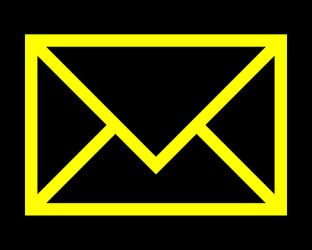 Mail symbol icon - yellow simple outline, isolated - vector illustration