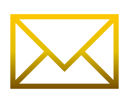 Icône de symbole de courrier - contour dégradé doré, isolé - illustration vectorielle Vecteurs