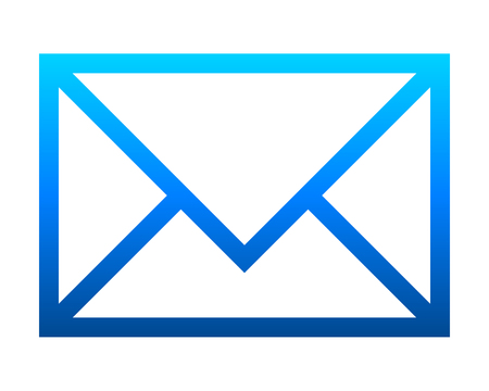 Mail symbol icon - blue gradient outline, isolated - vector illustration