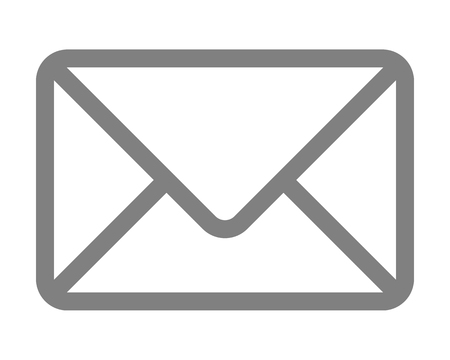 Mail symbol icon - gray simple outline with rounded corners, isolated - vector illustration Çizim