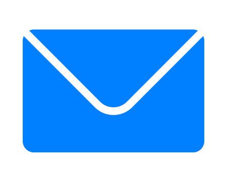 Mail symbol icon - blue simple with rounded corners, isolated - vector illustration