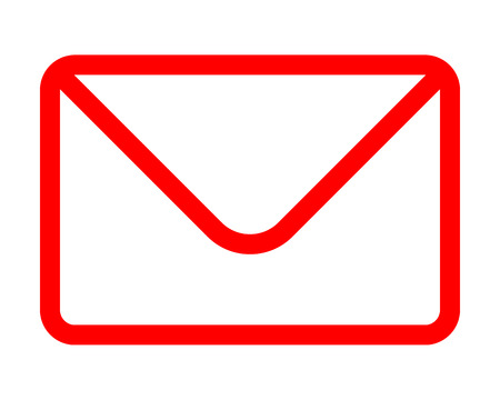 Mail symbol icon - red simple outline with rounded corners, isolated - vector illustration