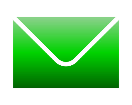 Mail symbol icon - green gradient, isolated - vector illustration