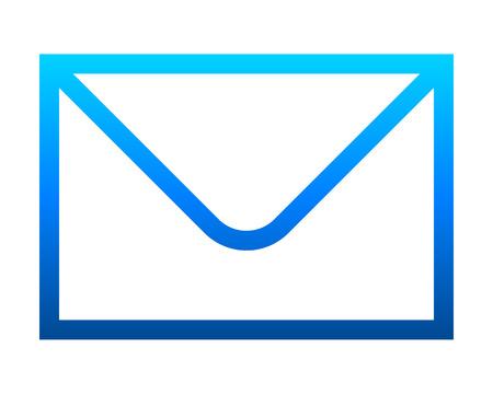 Icône de symbole de courrier - contour dégradé bleu, isolé - vector illustration Vecteurs