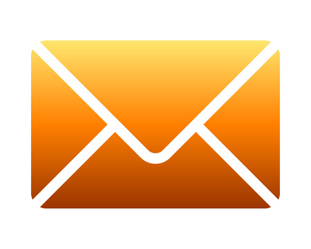 Mail symbol icon - orange gradient with rounded corners, isolated - vector illustration