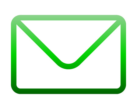Mail symbol icon - green gradient outline with rounded corners, isolated - vector illustration