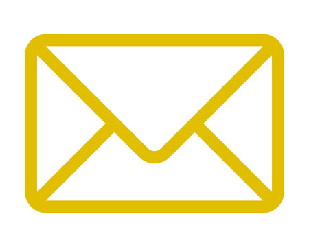 Mail symbol icon - golden simple outline with rounded corners, isolated - vector illustration